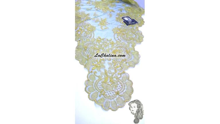 Chalina Italiana Modelo Flor de Liz Oro Metal Verde Hierba