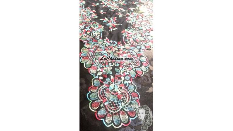 Chalina Italiana Modelo Flor de Liz Multi-Color 9032 Fondo Negro