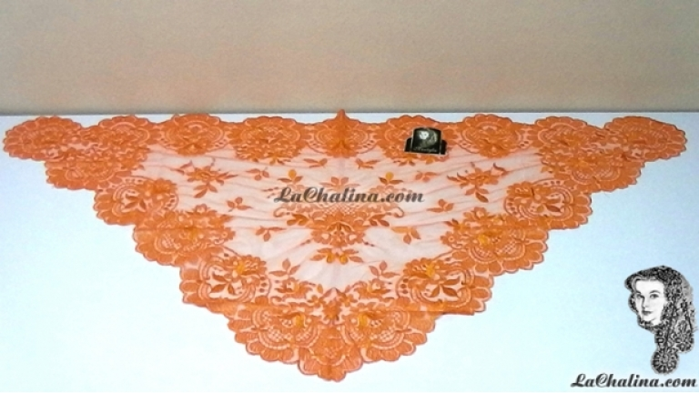 Chalina Italiana Modelo Flor de Liz Naranja Fuerte 535