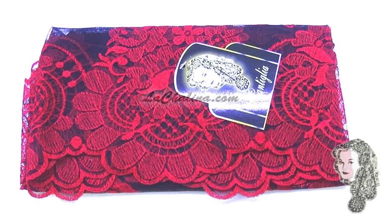 Chalina Italiana Modelo Flor de Liz Rojo 700 Fondo Negro