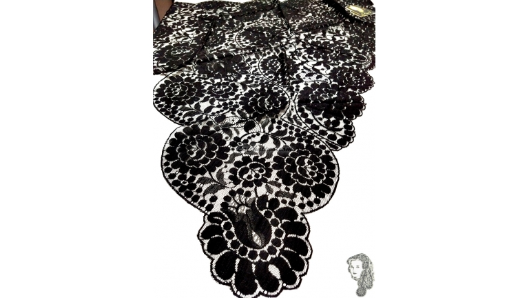 Chalina Española Modelo Raschel Color Negro
