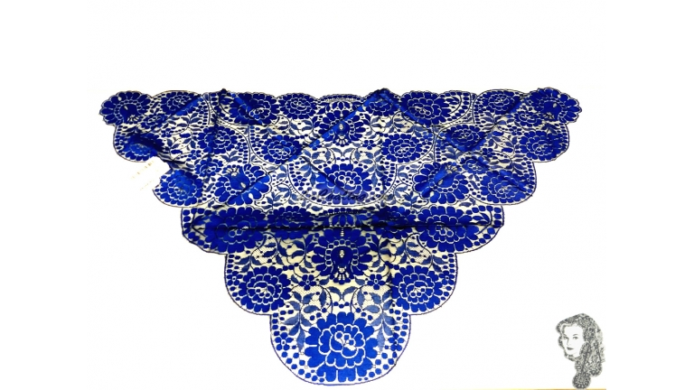 Chalina Española Modelo Raschel Color Royal Fondo Negro