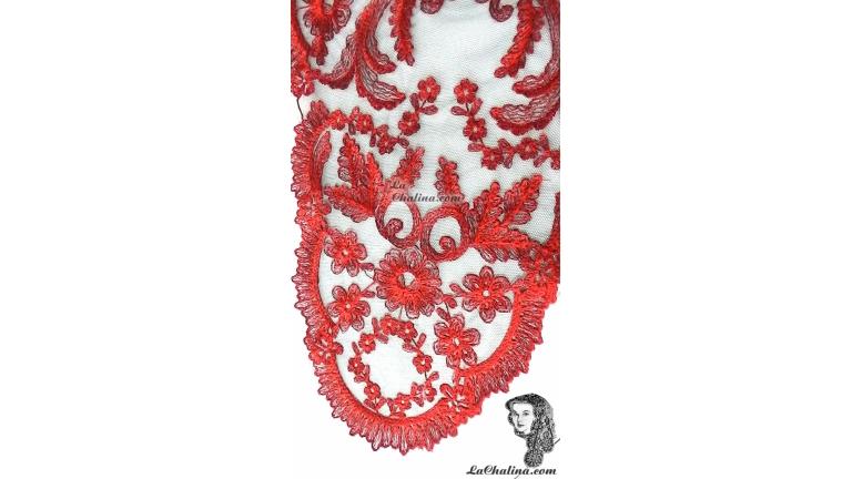 Chalina Española Modelo Paraiso  Rojo 700 Fondo Negro