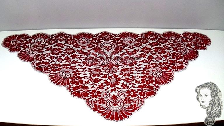Chalina Francesa Modelo Paris Rojo Granate Fondo Negro