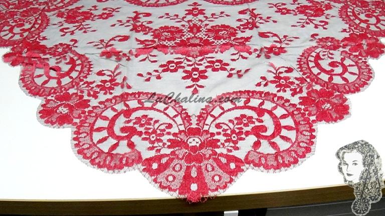 Chalina Española Modelo Medallon Coral 364 Fondo Negro