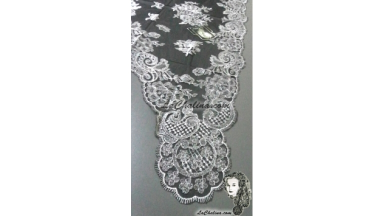 Chalina Española Modelo Espiral Plata Metalico 902 Fondo Negro