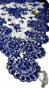 Chalina Italiana Modelo Flor de Liz Azul Marino 334 Fondo Negro