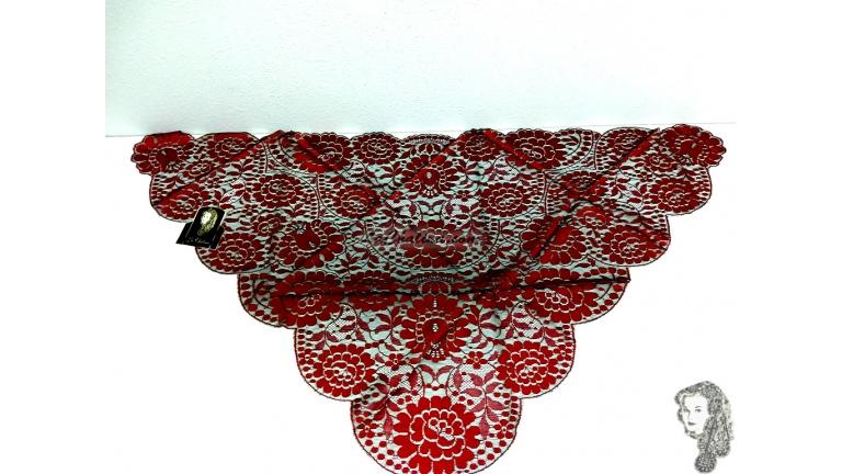Chalina Española Modelo Raschel Color Rojo Fondo Negro